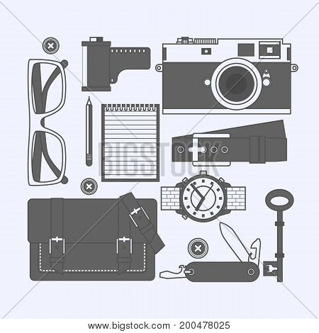 Things a man carries with him watch keys notebook knife glasses belt purse camera film Vector illustration