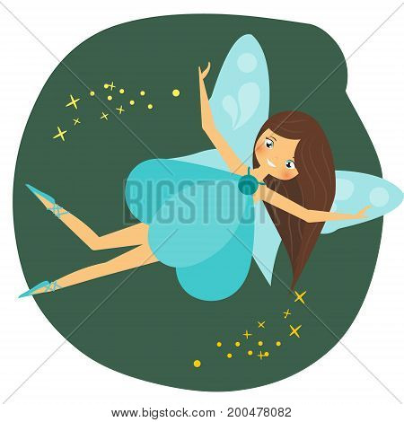 Beautiful flying fairy character with blue wings. Fantasy elf pixie princess spreading fairy dust. Winged girl in cartoon style. Winged girl in cartoon style. Vector illustration for kids and babies