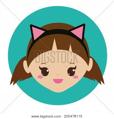 Cute girl with cat ears headband. Vector illustration for kids, children and babies fashion.