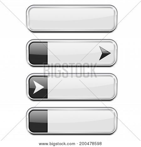 White buttons with black tags. Menu interface elements. Vector 3d illustration isolated on white background