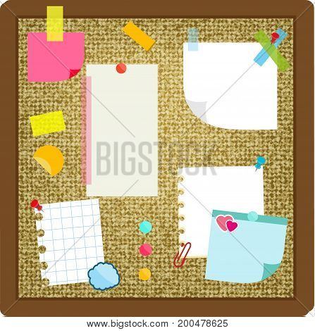 Paper sheets, sticky notes, stickers hanging on cork board. Vector illustration.