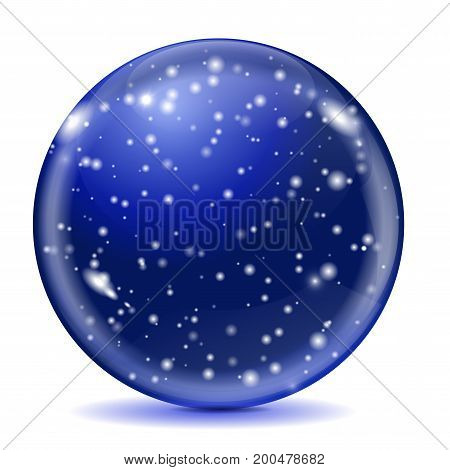 Blue glass sphere. Magic snow ball. Vector 3d illustration isolated on white background