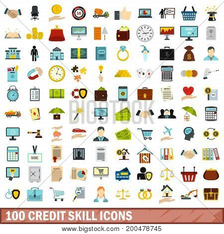 100 credit skill icons set in flat style for any design vector illustration