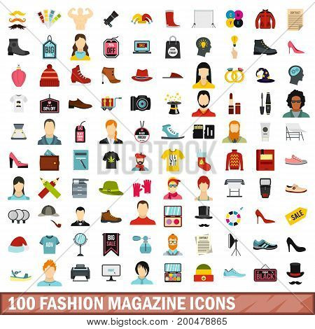 100 fashion magazine icons set in flat style for any design vector illustration