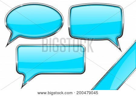 Speech bubbles. Set of blue communication 3d icons with chrome frame. Vector illustration isolated on white background