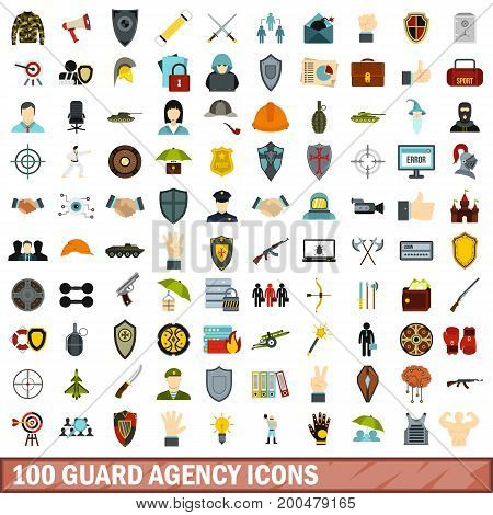 100 guard agency icons set in flat style for any design vector illustration