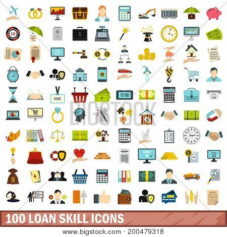 100 loan skill icons set in flat style for any design vector illustration