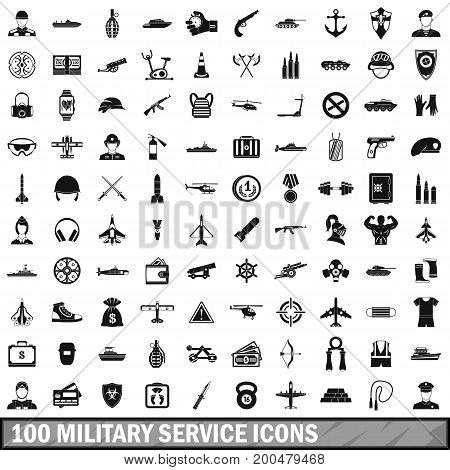 100 military service icons set in simple style for any design vector illustration