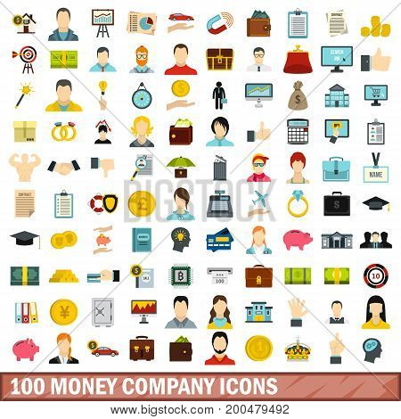 100 money company icons set in flat style for any design vector illustration