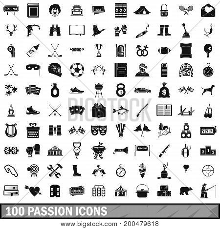 100 passion icons set in simple style for any design vector illustration