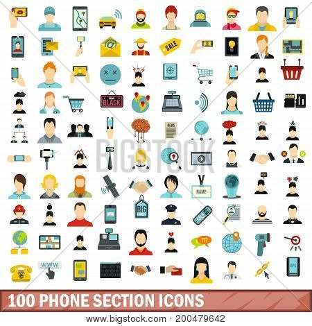 100 phone section icons set in flat style for any design vector illustration