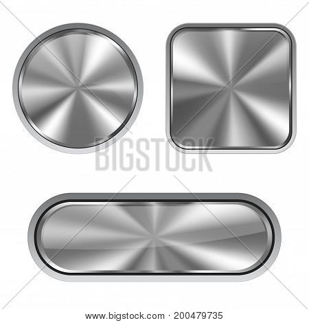 Metal buttons. Vector illustration isolated on white background