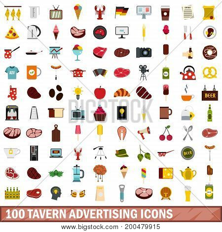 100 tavern advertising icons set in flat style for any design vector illustration