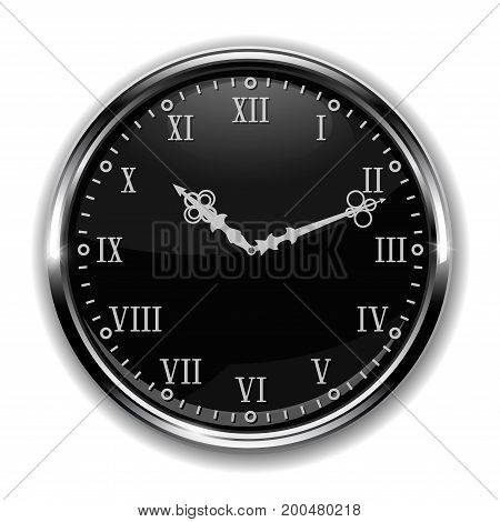 Black round clock with roman numerals. Vector 3d illustration isolated on white background