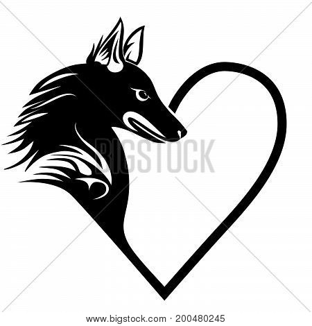 Dog heart love pet tattoo print forT-shirt pet shop logo label decor elements and design products for pets vector illustration