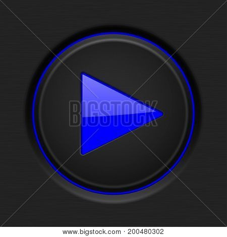 Black Play button with blue backlight. Vector illustration