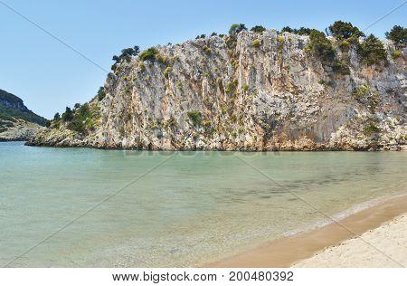 landscape of Voidokilia beach Messinia Peloponnese Greece