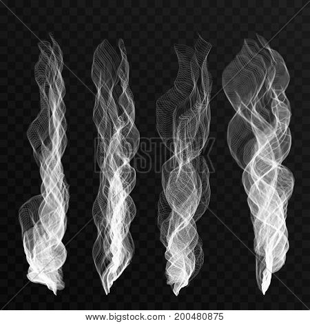 Smoke Waves Set On Transparent Background. Cigarette Smoke Waves, Hot Steam, Mist