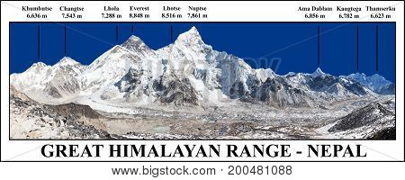Great himalayan range panoramic view of Mount Everest and Khumbu Glacier from Kala Patthar - way to Everest base camp Khumbu valley Sagarmatha national park Nepal himalayas