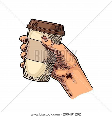 Hand holding a disposable cup of coffee with cardboard holder and cap. Vintage color vector engraving illustration for label web flayer. Isolated on white background