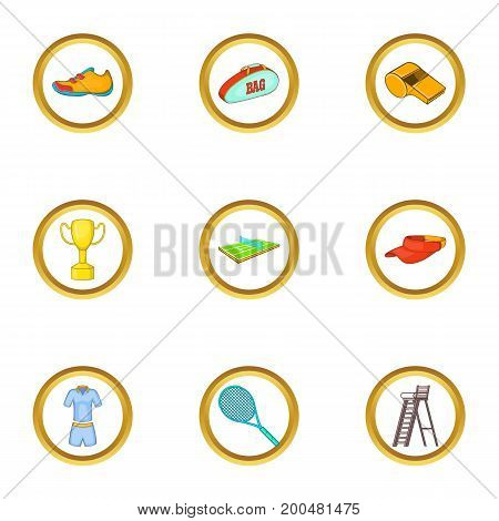 Tennis icons set. Cartoon illustration of 9 tennis vector icons for web design