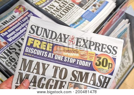 LONDON ENGLAND - MAY 14 2017 : Sunday Express is a sister paper of The Daily Express newspaper which is daily national middle market tabloid newspaper in the United Kingdom.