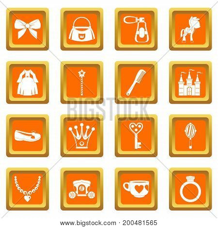Doll princess items icons set in orange color isolated vector illustration for web and any design