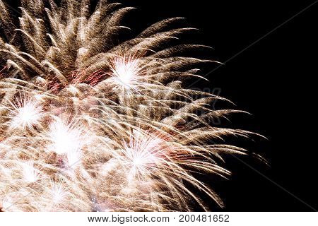 Firework. Colorful salute in the night sky. Congratulatory background. Free place.