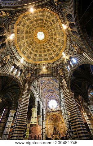 Interior Dome Of Siena Cathedral, Tuscany, Italy