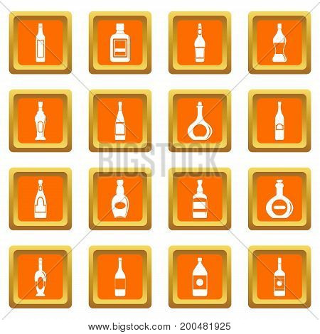 Bottle forms icons set in orange color isolated vector illustration for web and any design