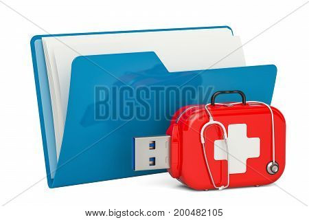 Computer folder icon with USB flash drive service and recovery first aid concept. 3D rendering