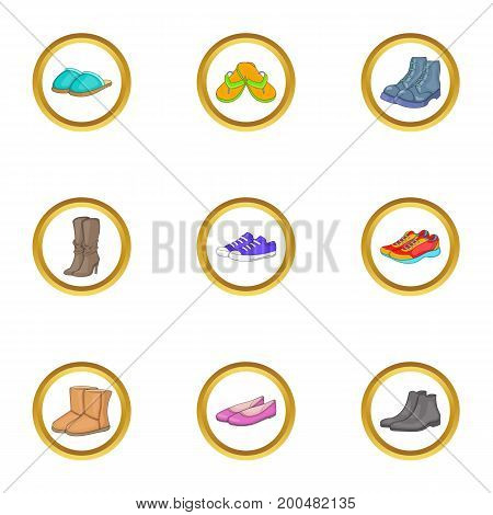 Shoe icons set. Cartoon illustration of 9 shoe vector icons for web design