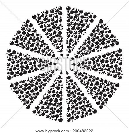 Circular pattern of black bubbles on a white background. vector illustration