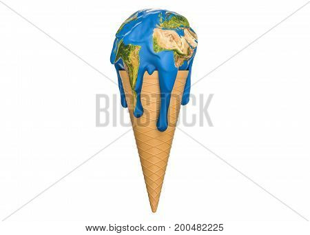 Global warming and climate change concept ice cream earth melts. 3D rendering