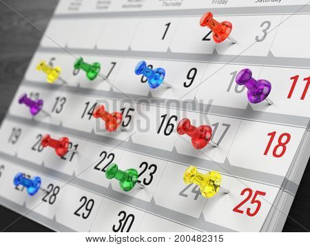 Concept of calendar, reminder, organizing - 3d illustration of calendar with colorful pins
