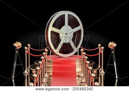 Podium with film reel presentation concept. 3D rendering isolated on black background