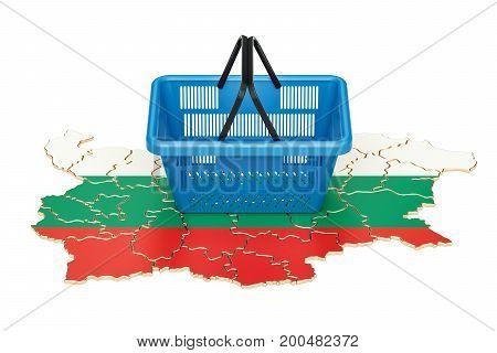 Shopping basket on Bulgarian map market basket or purchasing power in Bulgaria concept. 3D rendering