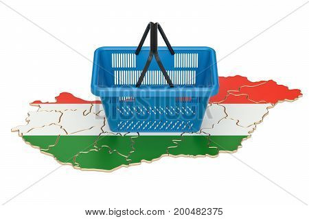 Shopping basket on Hungarian map market basket or purchasing power in Hungary concept. 3D rendering