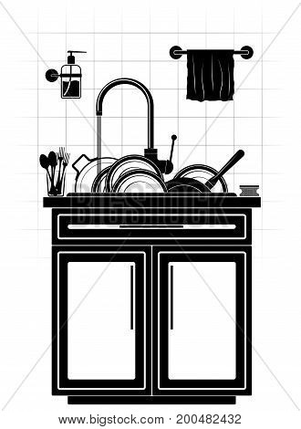 A mountain of dirty unwashed dishes in the sink in the kitchen. Plates, saucepan and frying pan. Tiled wall and kitchen furniture. Black and white.