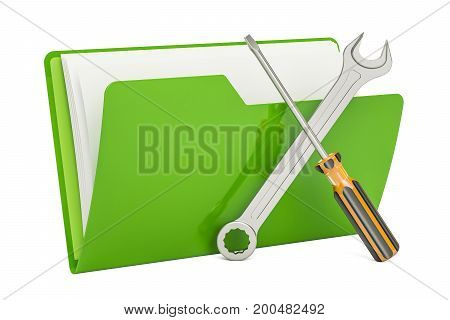 Tools and settings computer folder icon. 3D rendering isolated on white background