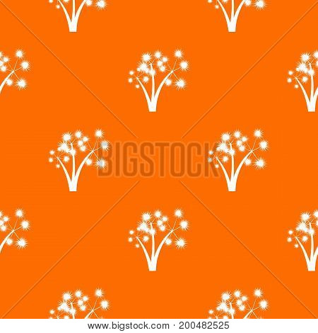 Three spiky palm trees pattern repeat seamless in orange color for any design. Vector geometric illustration