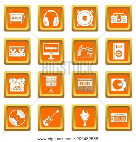 Recording studio items icons set in orange color isolated vector illustration for web and any design