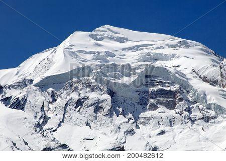 round Annapurna circuit trekking trail view from Thorung La pass Nepal