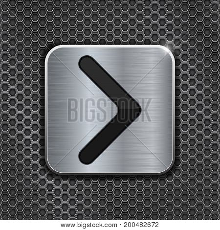 Metal square NEXT button on perforated background. Vector 3d illustration