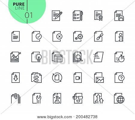 Set of text editing and document formatting icons. Modern outline web icons collection for web and app design and development. Premium quality vector illustration of thin line web symbols.
