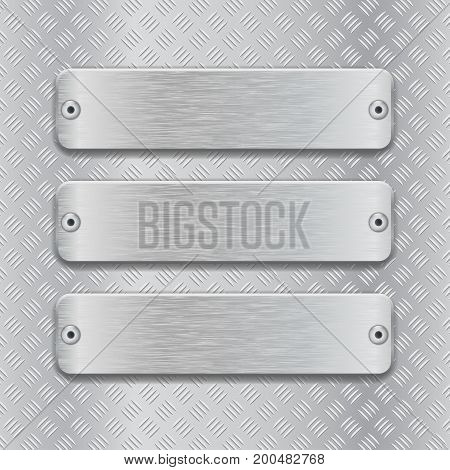 Non slip surface with brushed metal plates. Vector 3d illustration