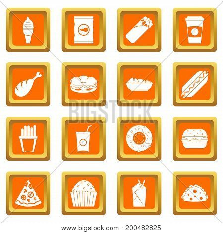 Fast food icons set in orange color isolated vector illustration for web and any design