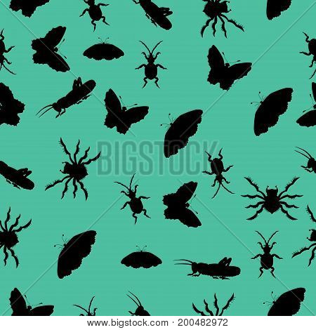 Pattern of silhouettes of insects. vector illustration. Drawing by hand