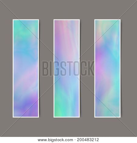 Set of Vertical Delicate Banners with Holographic Effect for Business. Collection Tender Templates for Text Message Flyers Cards.