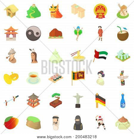Culture of food icons set. Cartoon style of 36 culture of food vector icons for web isolated on white background